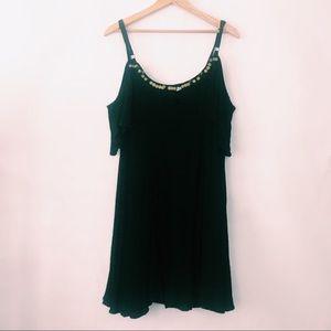 torrid | Black Cold Shoulder Dress Sequins 1X
